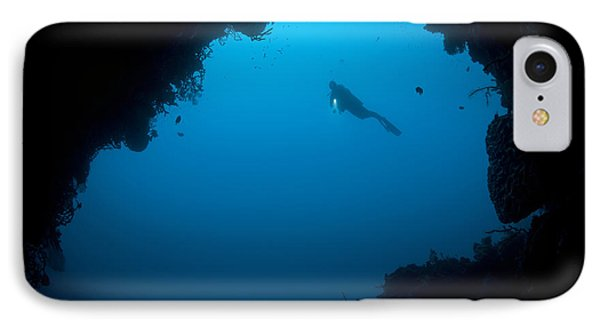A Diver Explores A Cavern In Gorontalo Phone Case by Steve Jones