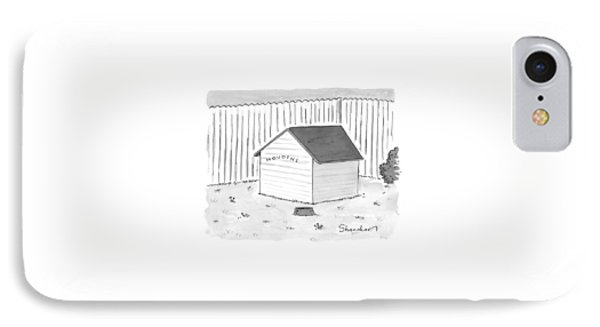 A Dog House With No Doors Is Seen With The Sign IPhone Case