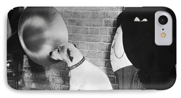A Dog Listens To Gramaphone IPhone Case by Underwood Archives