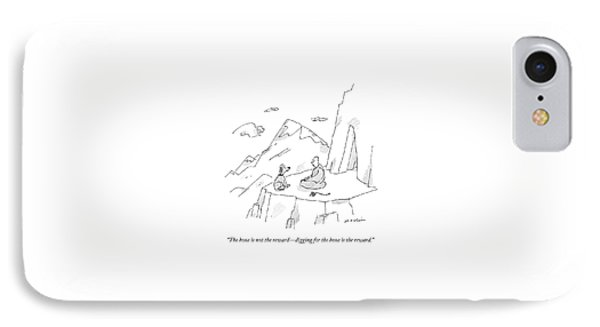 A Dog Speaks To A Guru On Top Of A Mountain IPhone Case by Michael Maslin