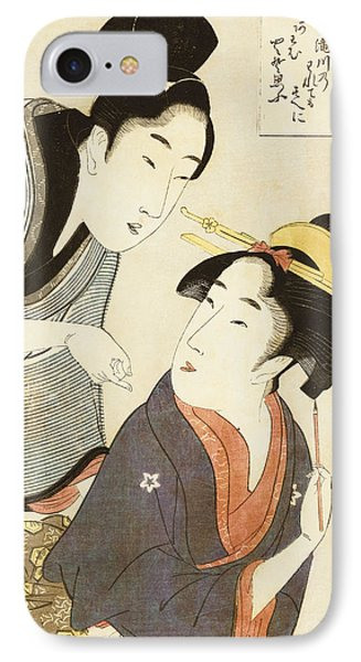 A Double Half Length Portrait Of A Beauty And Her Admirer  Phone Case by Kitagawa Utamaro