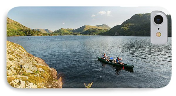 A Family Paddling In A Canadian Canoe IPhone Case by Ashley Cooper