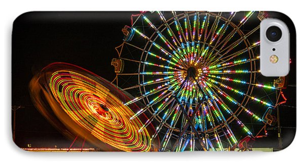 IPhone Case featuring the photograph Colorful Carnival Ferris Wheel Ride At Night by Jerry Cowart
