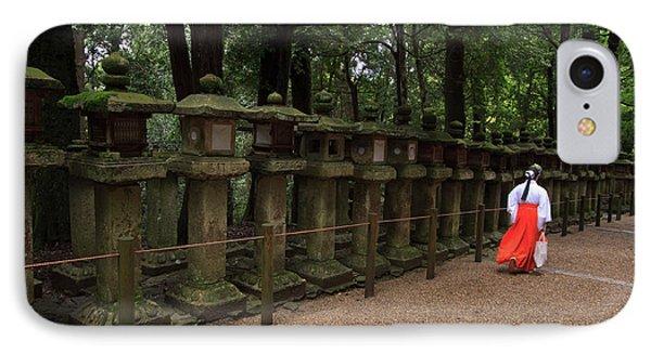 A Female Shrine Attendant Walks IPhone Case by Paul Dymond