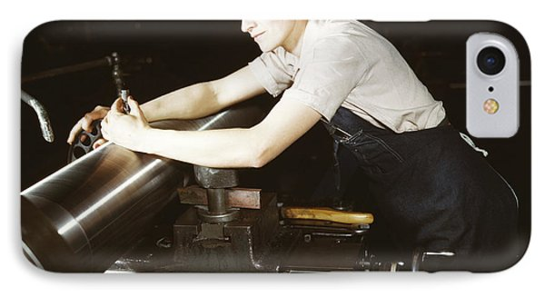 A Female Worker Checking An M7 Gun IPhone Case by Stocktrek Images
