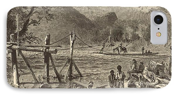 A Ferry On The French Broad 1872 Engraving Phone Case by Antique Engravings