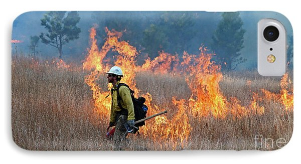 A Firefighter Ignites The Norbeck Prescribed Fire. Phone Case by Bill Gabbert