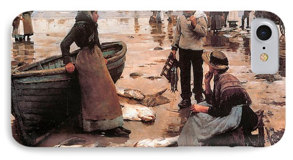 A Fish Sale On A Cornish Beach IPhone Case by Stanhope Alexander Forbes