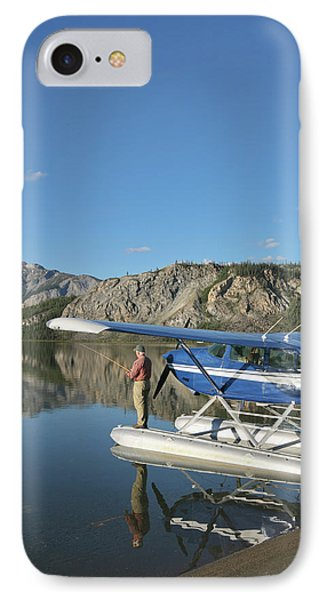 A Fisherman Casts For Lake Trout IPhone Case by Hugh Rose