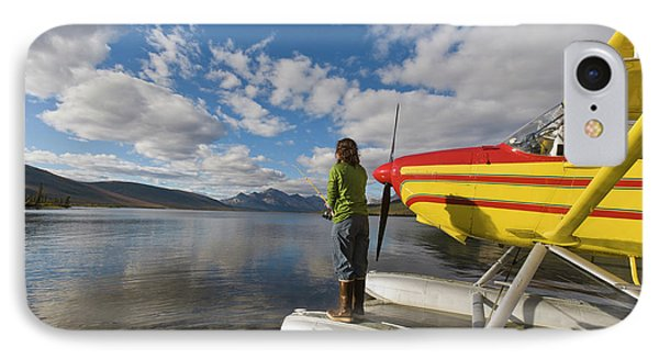 A Fisherman On A Floatplane In Scenic IPhone Case by Hugh Rose
