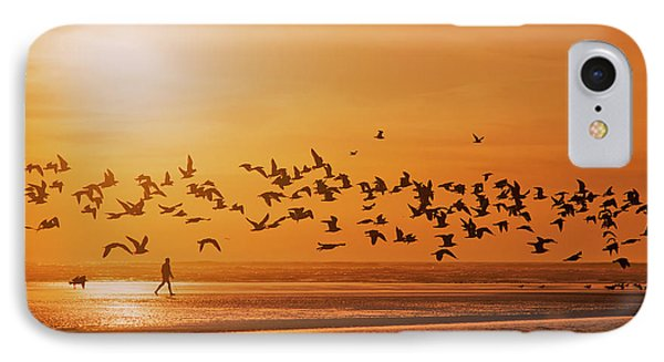 A Flock Of Birds Fly Over The Beach IPhone Case by Robert L. Potts