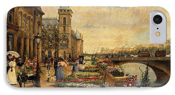 A Flower Market On The Seine IPhone Case by Ulpiano Checa y Sanz