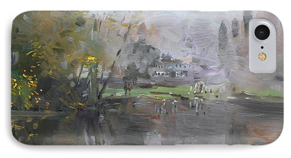 A Foggy Fall Day By The Pond  IPhone Case by Ylli Haruni