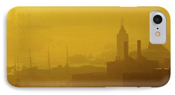 IPhone Case featuring the photograph A Foggy Golden Sunset In Honolulu Harbor by Lehua Pekelo-Stearns