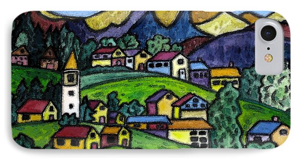 A Folksy Swiss Town Phone Case by Monica Engeler