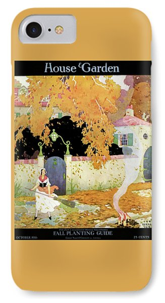A Girl Sweeping Leaves IPhone Case by The Reeses