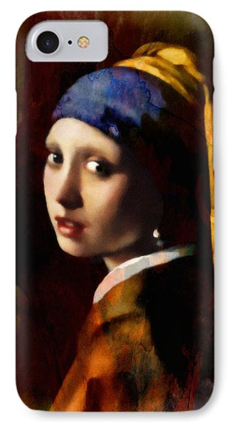 A Girl With A Pearl In Autumn IPhone Case by Georgiana Romanovna