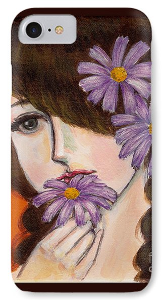 IPhone Case featuring the painting A Girl With Daisies by Jingfen Hwu
