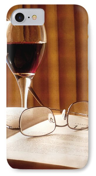 IPhone Case featuring the photograph A Good Book And A Glass Of Wine by Lucinda Walter