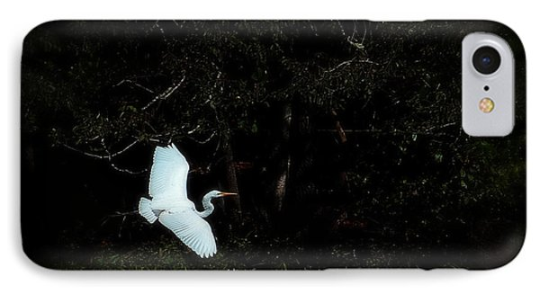 IPhone Case featuring the photograph A Great White Heron Above The Water by Lena Wilhite