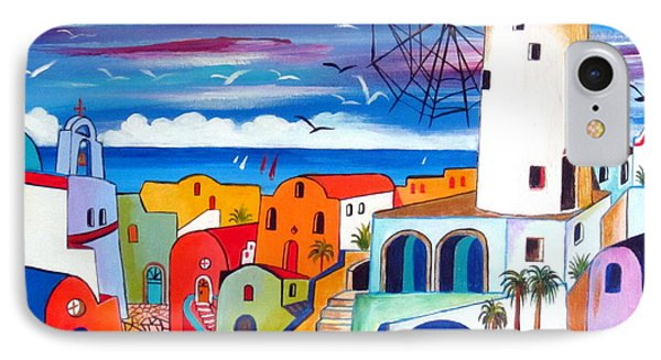 A Greek Mill And The Colors Of Oia Santorini  IPhone Case