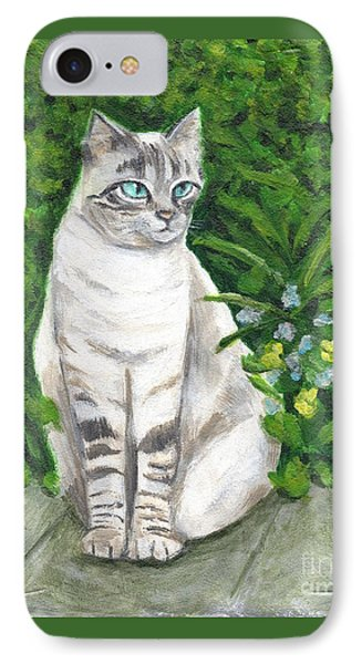 IPhone Case featuring the painting A Grey Cat At A Garden by Jingfen Hwu