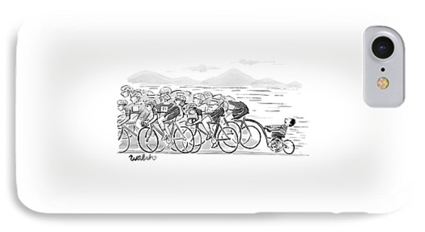 A Group Of Bikers Race Competitively. At The End IPhone Case