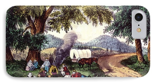 A Halt By The Wayside  IPhone Case by Currier and Ives