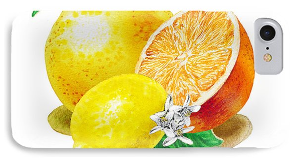 IPhone 7 Case featuring the painting A Happy Citrus Bunch Grapefruit Lemon Orange by Irina Sztukowski