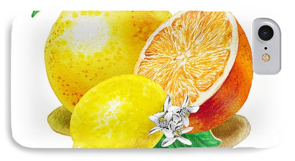 A Happy Citrus Bunch Grapefruit Lemon Orange IPhone Case by Irina Sztukowski