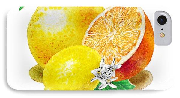IPhone Case featuring the painting A Happy Citrus Bunch Grapefruit Lemon Orange by Irina Sztukowski