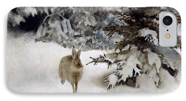 A Hare In The Snow IPhone Case by Bruno Andreas Liljefors