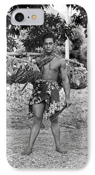A Hawaiian With Coconuts IPhone Case by Underwood Archives
