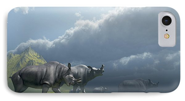 A Herd Of Brontotherium Dinosaurs Come Phone Case by Corey Ford