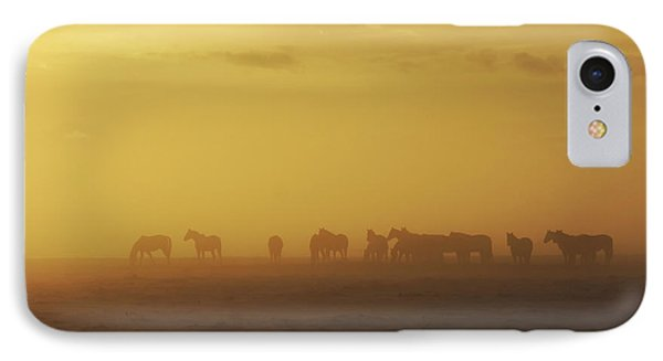A Herd Of Horses In The Morning Fog Phone Case by Roberta Murray