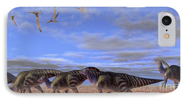 A Herd Of Parasaurolophus Dinosaurs Phone Case by Corey Ford