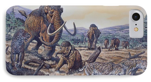 A Herd Of Woolly Mammoth And Scimitar IPhone Case by Mark Hallett
