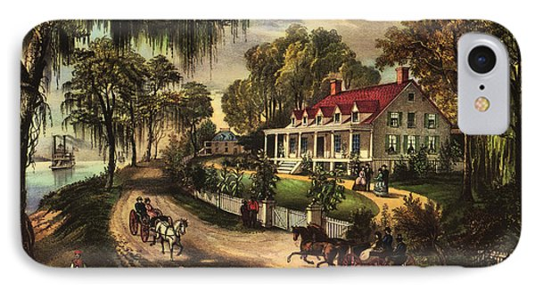 A Home On The Mississippi IPhone Case by Currier and Ives