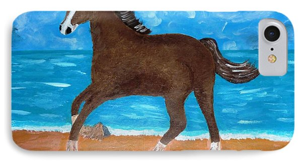 IPhone Case featuring the painting A Horse On The Beach by Magdalena Frohnsdorff