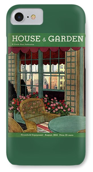 A House And Garden Cover Of A Wicker Chair IPhone Case by Pierre Brissaud