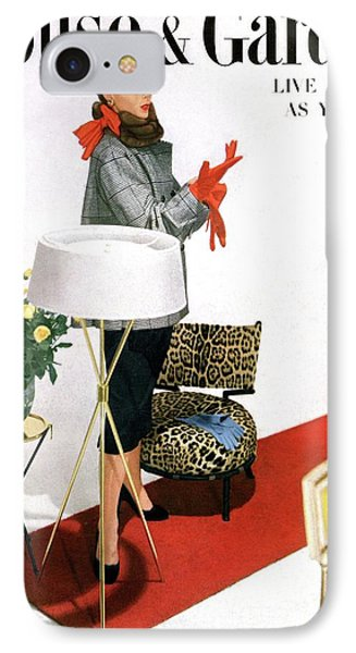 A House And Garden Cover Of A Woman With A Lamp IPhone Case by Horst P. Horst