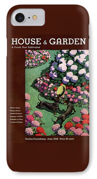 A House And Garden Cover Of Dachshunds With A Hat IPhone Case by Pierre Brissaud