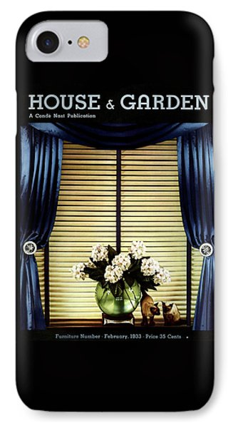 A House And Garden Cover Of Flowers By A Window IPhone Case by Anton Bruehl