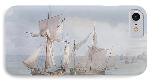 A Hoy And A Lugger With Other Shipping On A Calm Sea  Phone Case by John Thomas Serres