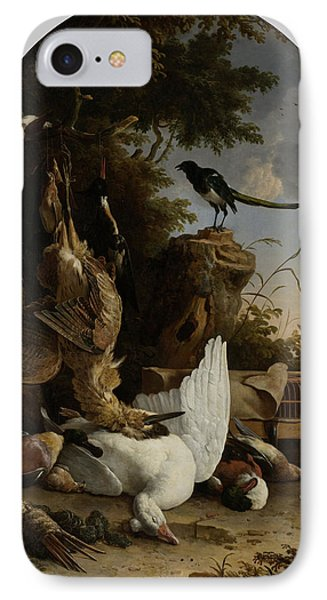 A Hunter's Bag Near A Tree Stump With A Magpie IPhone Case