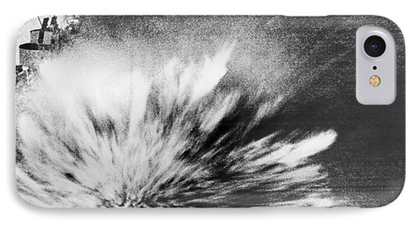 A Japanese Bomb Explodes On The Flight Deck Of The Uss Enterprise IPhone Case by Underwood Archives