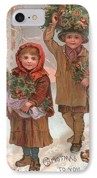 A Joyful Christmas To You   Victorian Christmas Card  Phone Case by English School