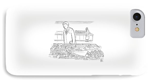 A Laboratory Scientist Looks On As The Walls IPhone Case by Paul Noth