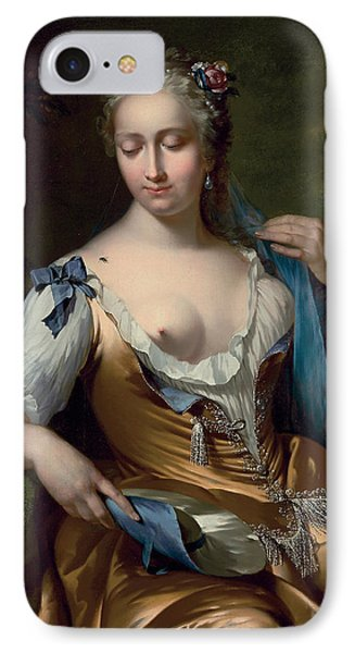 A Lady In A Landscape With A Fly On Her Shoulder Phone Case by Frans van der Mijn