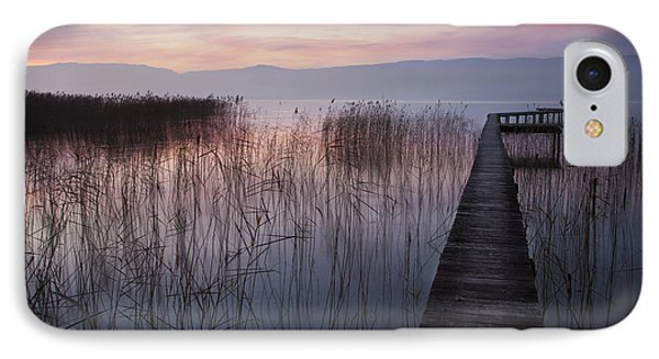 A Lake A Pier And Some Reeds IPhone Case